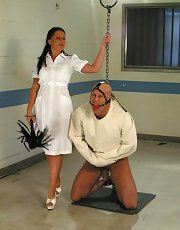 Penny Flame is a deviant nurse that takes advantage of the doctor's absence to do naughty things to the patients. christian is the victim of the day, he's placed in a straight jacket from which he can't escape, and ball-gagged so no one can hear his cr
